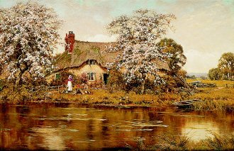 The Cottage by the Stream by Edward Wilkins Waite. (GL)
