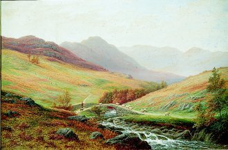 A Misty Landscape in the Lake District by William Mellor. (GS)