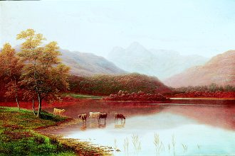 Tranquil Waters, A Scene in the Lake District by William Mellor. (GL)