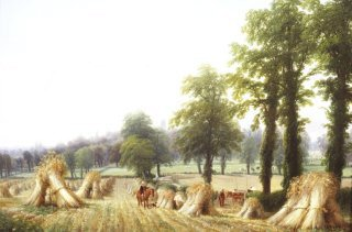 A View of Harvesting near Warwick by Thomas Baker. (GS)