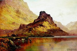 Cattle on a Highland Loch by Alfred de Breanski. (GL)