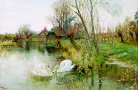 Swans by the Riverbank by J Valentine Davis (GL)