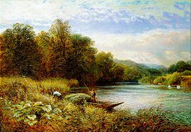 Gathering Rushes on the Thames Near Wargrave by Alfred Augustus Glendening. (GL)