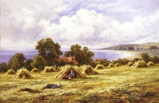 Harvest Time on the Coast Near Eastbourne, Sussex by Henry H Parker. (GL)