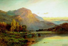 A View of Loch Lomond Near Inversnaid by Alfred de Breanski. (GL)