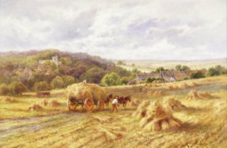 A View of Lambourn, Berkshire by Henry H Parker. (GL)