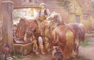 At The Village Pump by Charles James Adams (GS)