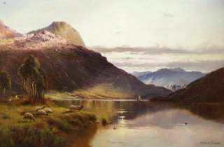 Sheep at the Edge of the Loch by Alfred de Breanski (GS)