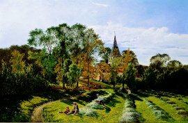 Shere Church, Surrey by Edwin Henry Boddington. (GL)