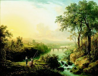 A River Landscape with Children Fishing by Abraham Pether. (GL)