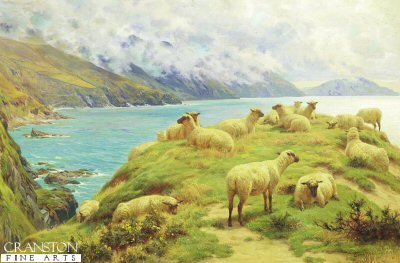 Sheep Reposing, Dalby Bay, Isle of Man by Basil Bradley 1842 to 1904. (GS)