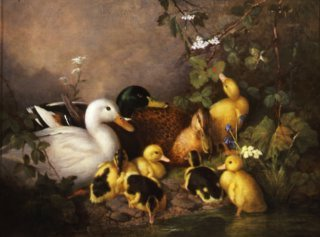 A Family of Ducks on the Riverbank by Walter Watson (GS)
