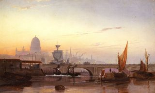London bridge and St Pauls cathedral from the west by Charles John De Lacey. (GL)
