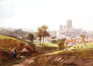 A View of Durham by John Wilson Carmichael. (GL)