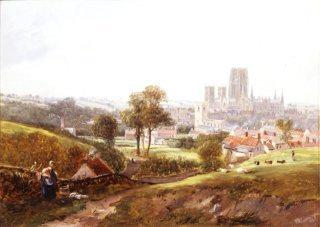 A View of Durham by John Wilson Carmichael. (GL)