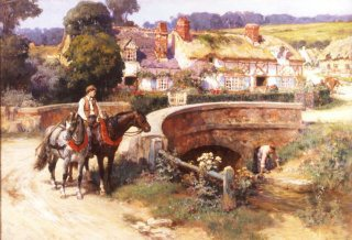 Sunlit Cottages by the Bridge Cider House by Frederick Arthur Bridgman. (GL)