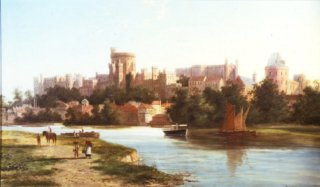 View of Windsor from the Thames by William Raymond Dommerson. (GL)