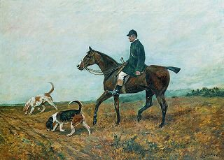 A Huntsman with Harriers by John Emms. (GS)