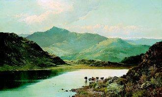 Llyn Gwernan, Dolgelly, Foot of Cader Idris, North Wales by Alfred de Breanski (GL)