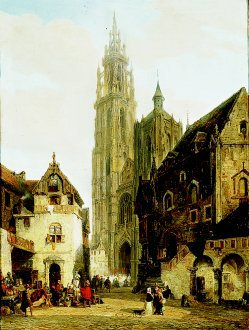 A Street Scene in Antwerp by Pierre van Elven Tetar. (GS)