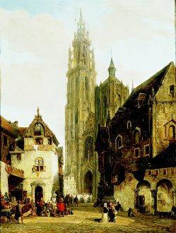 A Street Scene in Antwerp by Pierre van Elven Tetar. (GL)