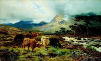 Cattle by a Highland Torrent by Louis Bosworth Hurt (GL)