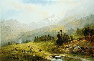 An Alpine Pass by Benjamin Williams Leader. (GS)