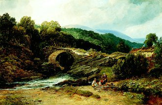 Old Bridge in Glenlivet, Banffshire, Destroyed by Floods 1869 by Arthur Perigal. (GL)