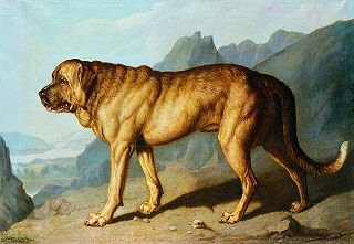 Lion, An Alpine Mastiff, in a Mountainous Landscape by Sir Edwin Landseer. (GS)
