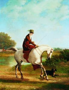 Emma Powles on her Grey Hunter Accompanied by her Spaniel by Jacques Laurent Agasse. (GS)