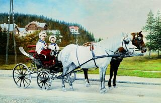 Young Boys in a Horsedrawn Carriage by Karl Buchta. (GS)