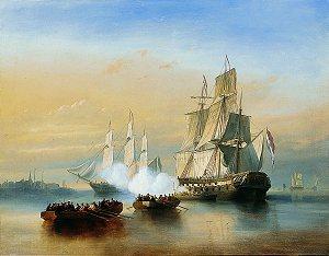 A Man of War off the Dutch Coast by Emmanuel Costa. (GS)