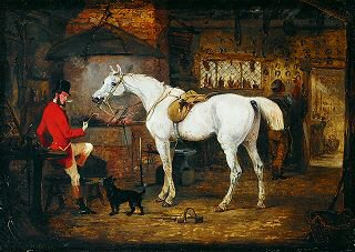 A Gentleman with his Grey Hunter at the Forge by Henry Alken Snr. (GS)