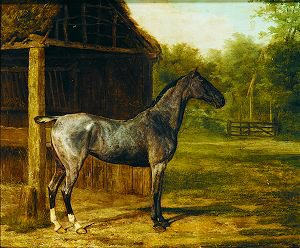A Roan Mare by a Stable in a Landscape by Jacques Laurent Agasse. (GS)