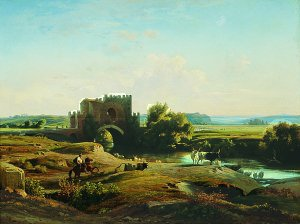 View of the Ponte Nomentano in the Roman Campagna, 1852 by Jean Achille Benouville. (GL)
