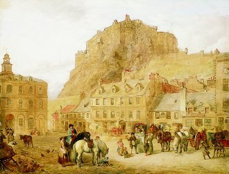 Edinburgh Castle from the Grassmarket, 1859 by George Washington Brownlow. (GL)