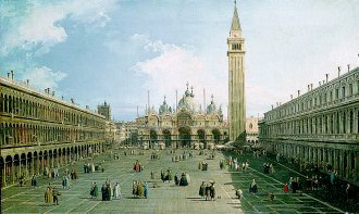 Piazza San Marco Looking East Towards Basilica by Giovanni Antonio Canaletto. (GL)