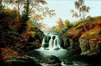 A Waterfall on the Dee Ingleton by William Mellor. (GS)