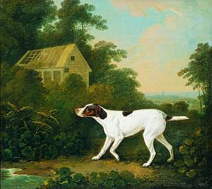 A Pointer in a Landscape Near a Cottage, 1809 by John Boultbee (GL)