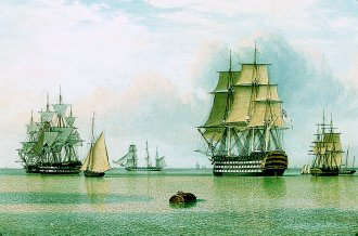 HMS Britannia and Other Shipping in Calm Waters by John Ward. (GS)