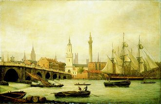 London Bridge with the Thames and the Monument by Thomas Luny. (GL)