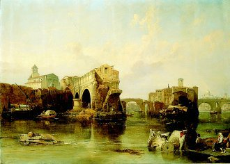 Il Ponte Rotto, Rome by William Clarkson Stanfield. (GL)
