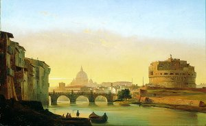 A View of Rome, With the Castel Sant Angelo by Ippolito Caffi. (GL)