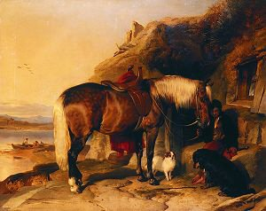 Favourite Pony and Dogs by Sir Edwin Landseer. (GS)