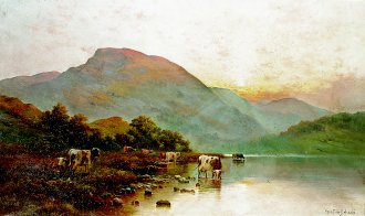 Morning- The Borders of Llyn Gwynant, North Wales by Alfred de Breanski (GL)