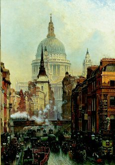 Ludgate - Evening, 1887 by John OConnor. (GL)