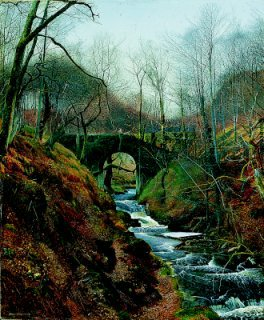Ghyll Beck, Barden, Yorkshire, Early Spring 1867 by John Atkinson Grimshaw. (GL)