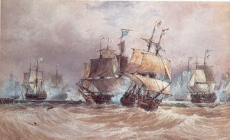 Defeat of the Spanish Fleet off Cape St Vincent, 1797 by Hardy. (GS)