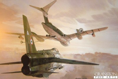 GT78. Lightning Refuel by Michael Turner. <p> A Lightning interceptor takes on fuel from a Victor tanker. <b><p> Open edition print. <p> Paper size 24 inches x 17 inches (61cm x 43cm)