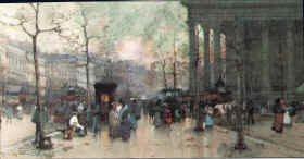 Le Boulevard de la Madele, Paris by Eugene Calfen Laloue.